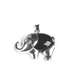 Black Onyx Elephant Pendant 25mm x 36mm  CB47292