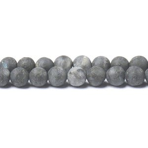 Grey Frosted Larvikite Grade A Plain Round Beads 8mm Strand Of 40+ Pieces CB49002-3
