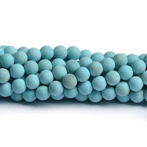 Turquoise Frosted Magnesite Grade A Plain Round Beads 8mm Strand Of 40+ Pieces CB49396-3