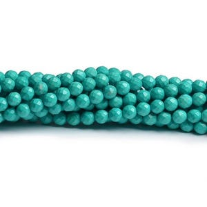 Turquoise Magnesite Grade A Faceted Round Beads 4mm Strand Of 95+ Pieces CB49411-1