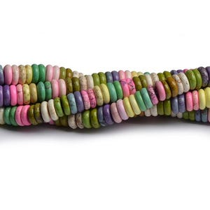 Mixed-Colour Magnesite Grade A Plain Rondelle Beads 4mm x 12mm Strand Of 75+ Pieces CB49423-1