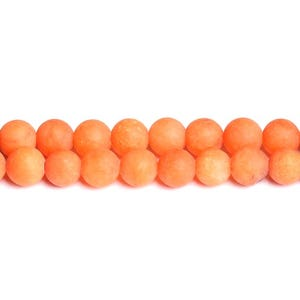 Orange Frosted Malaysian Jade Grade A Plain Round Beads 6mm Strand Of 60+ Pieces CB50302-1