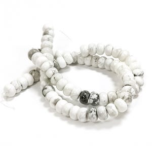 White/Grey Howlite Grade A Plain Rondelle Beads 5mm x 8mm Strand Of 80+ Pieces CB50445-3