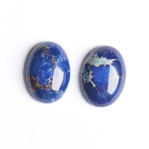 Blue Smooth Impression Jasper 18mm x 25mm Calibrated Oval Cabochon Pack Of 1 CB50474-1