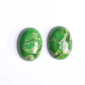Green Smooth Impression Jasper 18mm x 25mm Calibrated Oval Cabochon Pack Of 1 CB50475-1