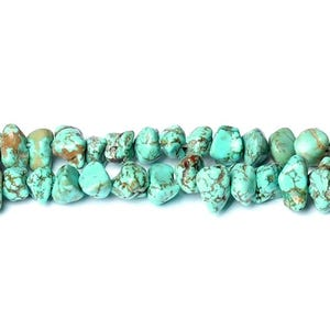 Turquoise Dyed Magnesite Grade A Smooth Nugget Beads Approx 10x4mm-13x9mm Strand Of 60+ Pieces CB50591-1
