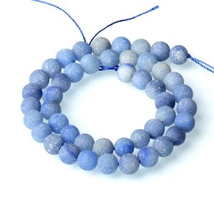 Blue Frosted Aventurine Grade A Plain Round Beads 8mm Strand Of 40+ Pieces CB52155-2