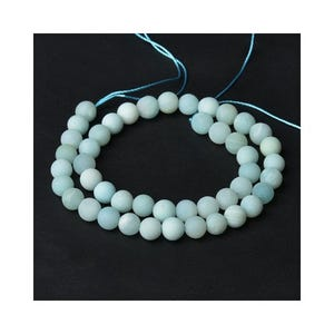 Pale Blue Frosted Amazonite Grade A Plain Round Beads 8mm Strand Of 40+ Pieces CB52157-3