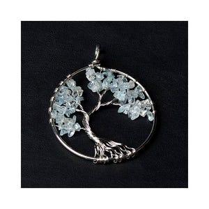Blue Aquamarine Tree Of Life Pendant 50mm  CB52224