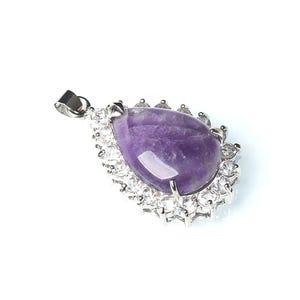 Purple Amethyst Crystal Pave Drop Pendant 25mm x 40mm  CB52259