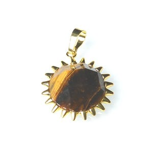 Yellow/Brown Tiger Eye Faceted Coin Pendant 25mm  CB52272