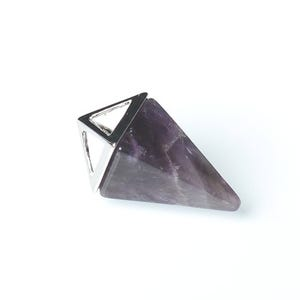 Purple Amethyst Pyramid Pendant 15mm x 32mm  CB52302