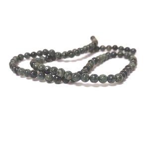 Green/Black Kambaba Jasper Grade A Plain Round Beads 4mm Strand Of 85+ Pieces CB52735-1