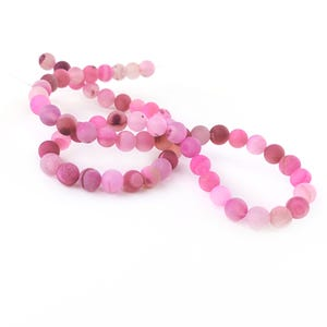 Fuchsia Frosted Agate Druzy Grade A Plain Round Beads 6mm Strand Of 60+ Pieces CB57793-1