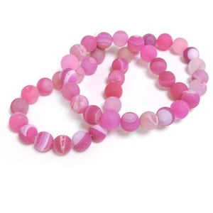 Fuchsia Frosted Agate Druzy Grade A Plain Round Beads 8mm Strand Of 45+ Pieces CB57793-2