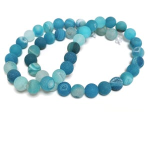 Blue Frosted Agate Druzy Grade A Plain Round Beads 8mm Strand Of 45+ Pieces CB57794-2
