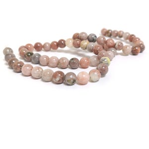 Pink/Yellow Lepidolite Grade A Plain Round Beads 6mm Strand Of 60+ Pieces CB59978-2