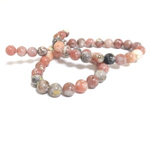 Pink/Yellow Lepidolite Grade A Plain Round Beads 8mm Strand Of 45+ Pieces CB59978-3