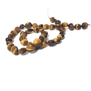 Yellow/Brown Tiger Eye Grade A Smooth Nugget Beads 8x9mm-10x10mm Strand Of 38+ Pieces CB61227