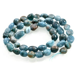 Teal Blue Apatite Grade A Smooth Nugget Beads 5x5mm-7x11mm Strand Of 48+ Pieces CB61229