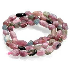 Pink/Mixed-Colour Tourmaline Grade A Smooth Nugget Beads 3x5mm-5x10mm Strand Of 55+ Pieces CB65910