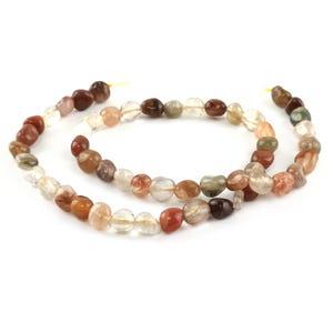 Mixed-Colour Rutilated Quartz Grade A Smooth Nugget Beads 5x6mm-7x9mm Strand Of 48+ Pieces CB65911