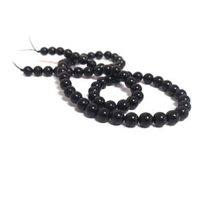 Black Whitby Jet Grade A Plain Round Beads 6mm Strand Of 60+ Pieces CB68215-1