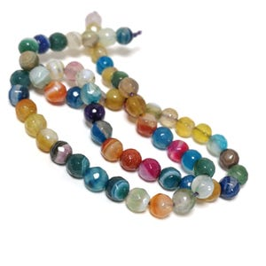 Mixed-Colour Banded Agate Grade A Faceted Round Beads 6mm Strand Of 60+ Pieces CB74211-1