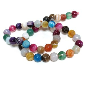Mixed-Colour Banded Agate Grade A Faceted Round Beads 8mm Strand Of 45+ Pieces CB74211-2