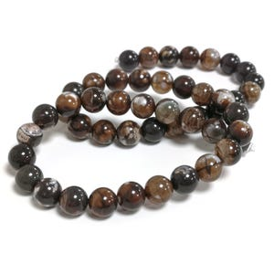 Brown Fire Agate Grade A Plain Round Beads 8mm Strand Of 45+ Pieces CB74217-2