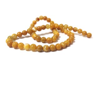 Dark Yellow Fire Agate Grade A Plain Round Beads 6mm Strand Of 60+ Pieces CB74219-1