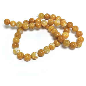 Dark Yellow Fire Agate Grade A Plain Round Beads 8mm Strand Of 45+ Pieces CB74219-2