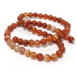 Orange Fire Agate Grade A Plain Round Beads 6mm Strand Of 60+ Pieces CB74224-1