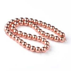 Rose Gold Hematite (Non Magnetic) Grade A Plain Round Beads 8mm Strand Of 45+ Pieces CB74847-6
