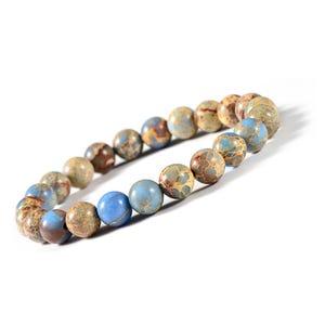 Blue/Beige Aqua Terra Jasper One Size Round Bead Stretchy Bracelet  CB76995