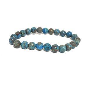 Blue/Brown Calsilica Jasper One Size Round Bead Stretchy Bracelet  CB76999