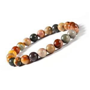 Red/Grey Polychrome Jasper One Size Round Bead Stretchy Bracelet  CB77001
