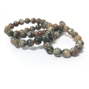 Green/Brown Rhyolite Grade A Plain Round Beads 6mm Strand Of 60+ Pieces CB85422-2
