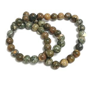 Green/Brown Rhyolite Grade A Plain Round Beads 8mm Strand Of 45+ Pieces CB85422-3