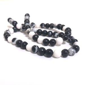 Black/White Mexican Jasper Grade A Plain Round Beads 6mm Strand Of 60+ Pieces CB85428-2