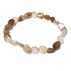 Brown/Clear Brookite In Quartz One Size Nugget Stretchy Bracelet  CB88221