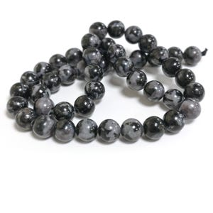 Black/Grey Gabbro Mystic Merlinite Grade A Plain Round Beads 8mm Strand Of 45+ Pieces CB90229-2