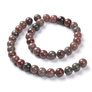 Green/Red Kashgar Garnet Grade A Plain Round Beads 8mm Strand Of 45+ Pieces CB90491-3