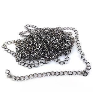 Metal Alloy Dark Silver Curb Chain 7mm x 8mm Open Link 4m Length CH1190