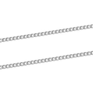 Iron Alloy Silver Curb Chain 2.2mm x 3mm Open Link 10m Length CH1320