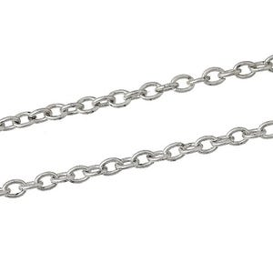 Iron Alloy Silver Tone Cable Chain 2mm x 3mm Open Link 5m Length CH1385