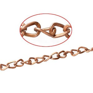 Iron Alloy Red Copper Cable Chain 4mm x 5mm Open Link 10m Length CH1415