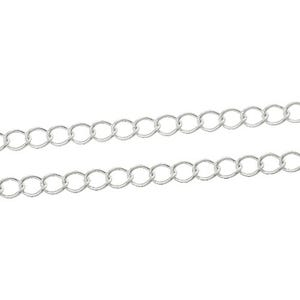 Metal Alloy Silver Curb Chain 3mm x 5mm Open Link 10m Length CH1465