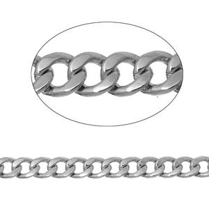 Iron Alloy Silver Tone Curb Chain 6mm x 7mm Open Link 2m Length CH1485