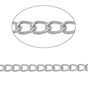 Anodised Aluminium Silver Tone Curb Chain 5mm x 8mm Open Link 3m Length CH1505